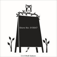 2014 New Design Creative Removable Blackboard Sticker Vinyl Chalkboard With Owl Wall Sticker  Nursery Kids Room Decorative Decal