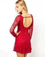 women lace dress, sexy backless fashion lace dress, long sleeve round neck women dress, free shipping, L0644