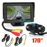 "2 IR LED Wireless Reversing Camera Waterproof 170 Degree + 4.3"" TFT LCD Monitor Car Rear View Kit  Free Shipping"