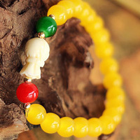 2014 New Hot Summer High quality Yellow agate Bracelets & bangle for Women Fashion 7MM Beads Vintage Gift Jewelry Wholesale