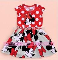 Free shopping 2014 new baby summer dress girl Minnie printing dot sleeveless cartoon dress tutu dresses for girl fashion