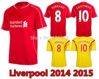 New 14 15 Top Thai Quality Liverpool Home Soccer Jersey SUAREZ GERRARD COUTINHO HENDERSON  Football Shirts Free Shipping