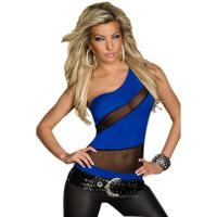 One shoulder oblique gauze cutout transparent short design women's slim sexy t shirts 25143