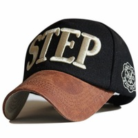 Top quality adult spring winter popular 3D Embroidery letter STEP PU peak  wool felt baseball caps