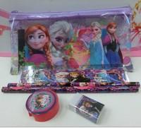 FROZEN children's stationery set pencil sharpener + eraser + + ruler + Bag = 1set