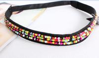 Fast New fashion  clothes weave hair band,women headband, beads elastic hairband  hair accessories, 12pcs/lot
