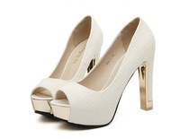 Woman White thick heel open toe high heel shoes 2014 princess platform summer pumps fashion sexy sandals