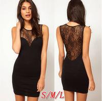 2014 new European style  women dress  slim lace patchwork sexy  dress women free shipping y245