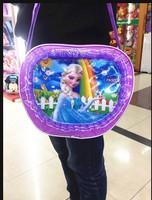 Free shipping Frozen students bag princess bag frozen bag, Mirror leather handbag children single shoulder bag