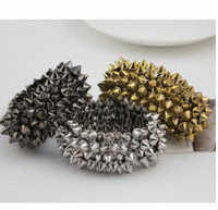Loom Bands European And American Retro with The Money I'm Willing Joke Female Hedgehog Rivets Wide Stretch Bracelet 3 Colors