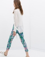 2014 New spring and summer women's casual pants green background pink flower print trousers S,M,L #4100