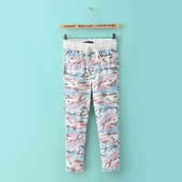 2014 new women elastic waist lace abstract colored camouflage print cropped trousers pants S,M,L #4072