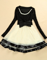 Free Shipping 2014 Hot new spring dress bow lace dress  backing mesh veil swing pearl decoration 3055