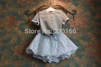 New Arrival 2014 Summer Children's Sets Korean Casual Cotton Kids Short Sleeve T-Shirts Lace Pierced Kids Girls Skirts K2014050