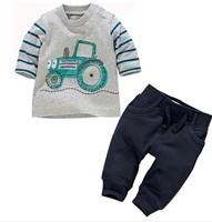 2014 New kids 2pcs clothing sets 100% cotton car t-shirt+long pant quality brand children clothes boys 2pcs sets