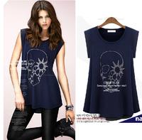 2014 summer new European and American Plus size women fat women big size thin Rhinestone Chiffon T-shirt M-XXXXL  Free shipping