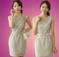 Korean brand new 2014 Round Neck Dress Slim Waist was Thin Package Hip OL Commuter Sleeveless Dress.