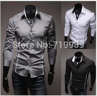 2014 Hot sale Free Shipping New Mens Shirts Casual Slim Fit Stylish Mens Dress Shirts