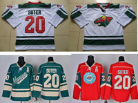 cheap Minnesota Wild jersey #20 Ryan Suter ice Hockey jerseys green white red Wholesale authentic Embroidery and Stitched