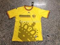 AAA+++ Belgium 2014 Jersey third away yellow jersey thailand quality 14 15 Belgium soccer jersey  Free shipping custom name