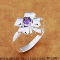 AR640 925 sterling silver ring, 925 silver fashion jewelry, Four petals with purple stone /bhcajyja dwzamoga