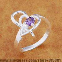AR644 925 sterling silver ring, 925 silver fashion jewelry, double heart inlaid light purple stone /bhgajyna dxdamoka
