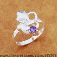 AR650 925 sterling silver ring, 925 silver fashion jewelry, three heart inlaid purple stone /bhmajyta dxjamoqa