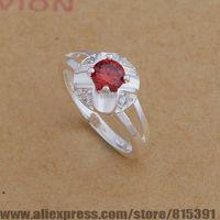AR652 925 sterling silver ring, 925 silver fashion jewelry, red stone/luxury goods  /bhoajyva dxlamosa