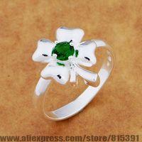 AR639 925 sterling silver ring, 925 silver fashion jewelry, leaf inlaid green stone /bhbajyia dwyamofa