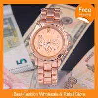 Free Shipping 2014 New Brand Watch Rose Gold For Women Black Men Fashion Calendar Wristwatch Janpan Quartz 4Colors+Drop Shipping