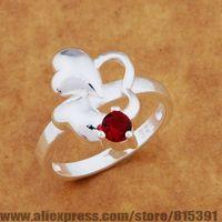 AR649 925 sterling silver ring, 925 silver fashion jewelry, three heart inlaid red stone /bhlajysa dxiamopa