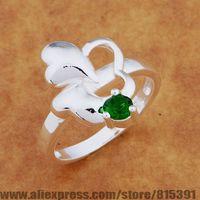 AR647 925 sterling silver ring, 925 silver fashion jewelry, luxuriant heart inlaid green stone /bhjajyqa dxgamona