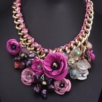 2 colors options vintage crystal big flowers pendant necklace X4656