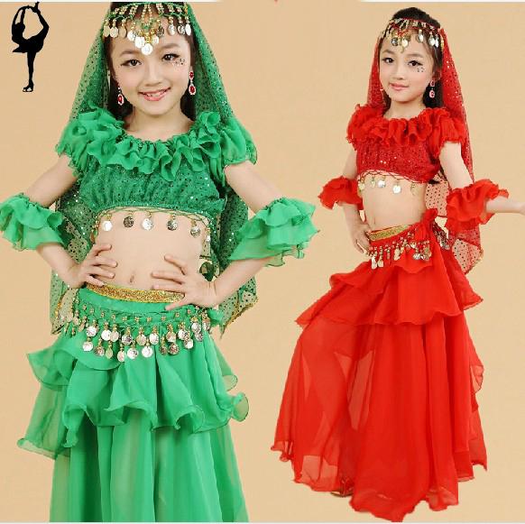 2014 neue bauchtanz 4 stück( top+dress+ belt+ armmanschette) Bauchtänzerin 3 farben kleider für tanz versandkostenfrei Zigeuner ani