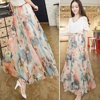 New Summer 2014 Colorful Women Skater Sun Long Maxi Tulle Saia Longa Patchwork Skirt Chiffon Skirts Jupe Bohemian Boho Skirt