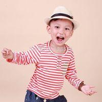 Hot Boys Girls t Shirts 2014 Summer Autumn Children's Long Sleeve Striped Shirt Kids Child Cotton Red Tops  90-130 Retail