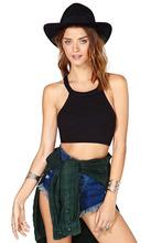 New 2015 Plus Size Summer Fashion Brand Sexy Tank Top Rib Knit Halter Collar Slim Vest T shirt Women Tops Casual Black Crop Top(China (Mainland))