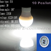 10 Pcs/lot Free Shipping E14 10 SMD 2835 LED Cool White AC220V-240V 3W Energy-saving LED Spot Light Bulb LEDQP030