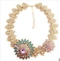 2014 new High Quality women big fashion chain necklace costume choker flower Necklaces & Pendants luxury statement jewelry women