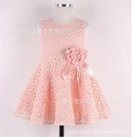 2014 Summer Girls Dress Temperament Retro Hollow Flower Duolei Si Girls Princess Dress  Free shipping f20001
