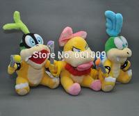 "Free Shipping 3 PCS/Set Super Mario Bros. Plush Doll Stuffed Toy Wendy O. Koopa/ LARRY Koopa/ IGGY Koopa 6"""