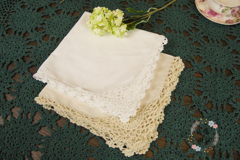 (10 pcs/lot)[45*45cm] 2014 Wholesale new arrival fashion fabric crochet flower white 100% cottton cloth napkins for table(China (Mainland))