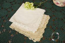 (10 pcs/lot)[45*45cm] 2014 Wholesale new arrival fashion fabric crochet flower white 100% cottton cloth napkins for table (China (Mainland))