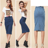 2014 New European & American Style Retro Elegant Slim Long Jeans Skirt Women Pencil Skirt S/M/L/XL 866# 2Colors Free Shipping