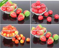 100pcs/lot cute foam artificial fruit strawberry cherry apple home decorative flowers favor Garden House  Wedding Decoration