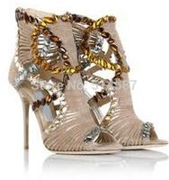 New Designer Hot Sale Embellished Sandal Booties High Heels Peep Toe Ankle Sandal Shoes