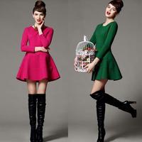 high quality 2014 fashion spring winter dress women clothing three quarter sleeve dresses free shipping