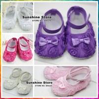 Sunshine store #2X0215 10 pair/lot (7 colors)infant BABY Cute crib shoes rosset shabby flower !antiskid prewalker walker sandals