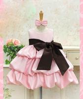 2014 Promotion New Arrival Satin Regular Solid Sleeveless Fahion Design Children Kids Dresses Girls Summer Wear Clothing Big Bow