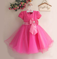 2014 Vestido Peppa Satin Regular Dresses 2colour New Year Girl Princess Dress Hot Selling Girls Floar Infant Party Baby Clothes